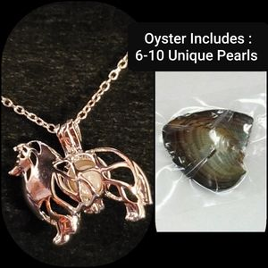 Rough Collie Silver Necklace & Oyster & Pearls Set